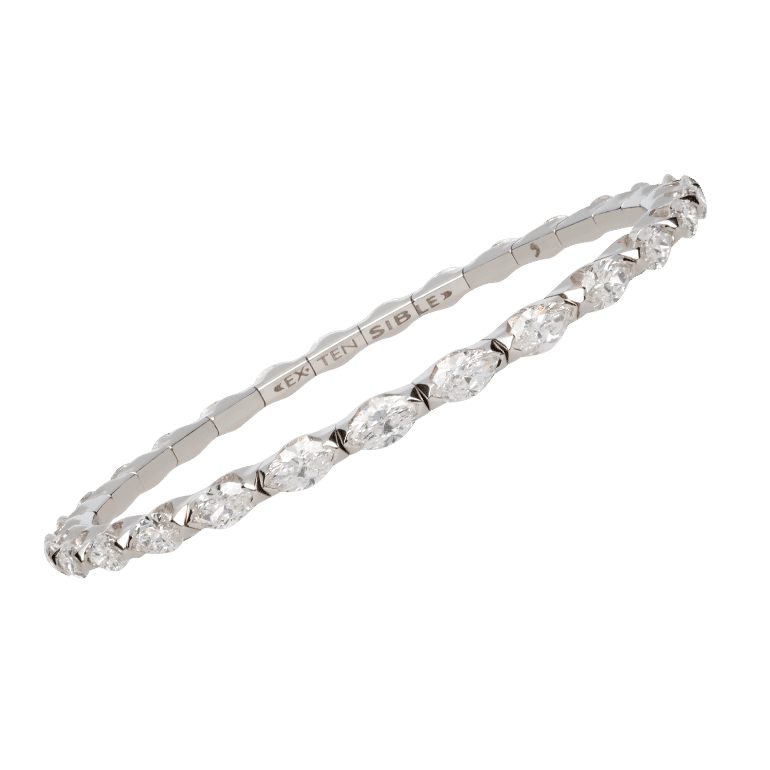 Elastic tennis bracelet in white gold and marquise cut diamonds