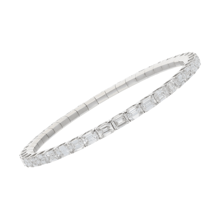 Elastic tennis bracelet in white gold and emerald cut diamonds